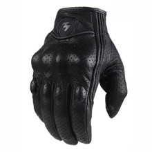 Touch Screen Real Leather Motorcycle Skidproof Hard Knuckle Full Finger Gloves Protective Gear for Outdoor Sports Motocross ATV