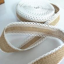 5 m/Roll encaje de arpillera de Yute natural rollos de decoración de mesa de boda decoración vintage rústica para boda 5BB5527