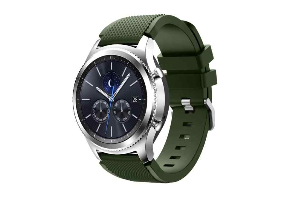 Gear S3 Frontier/Bracelet de montre classique, Bracelet de remplacement pour homme en Silicone souple 22mm pour Samsung Gear S3
