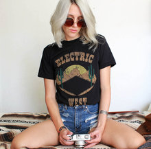 Hillbilly New Electric West Tee Womens southwestern t shirt-desert tshirt graphic tee vintage t-thin cactus shirt biker T
