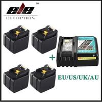 4x высокое Ёмкость 6000 мАч 14.4 В литий ионный Батарея для Makita BL1430 bl1415 194066 1 194065 3 194559 8 с 6.5a быстрого Зарядное устройство