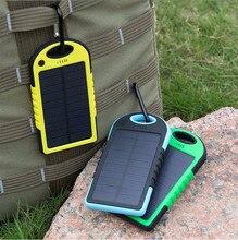 Горячий водонепроницаемый солнечной банк силы 5000 мАч портативное зарядное устройство путешествия enternal аккумулятор powerbank для xiaomi iphone 5s 6 4s htc sumsang