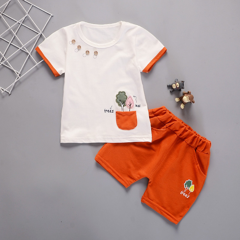 new baby summer t-shirt two-piece shorts suit 1-3 years old suits cotton short sleeve suit boy fashion cartoon children clothin