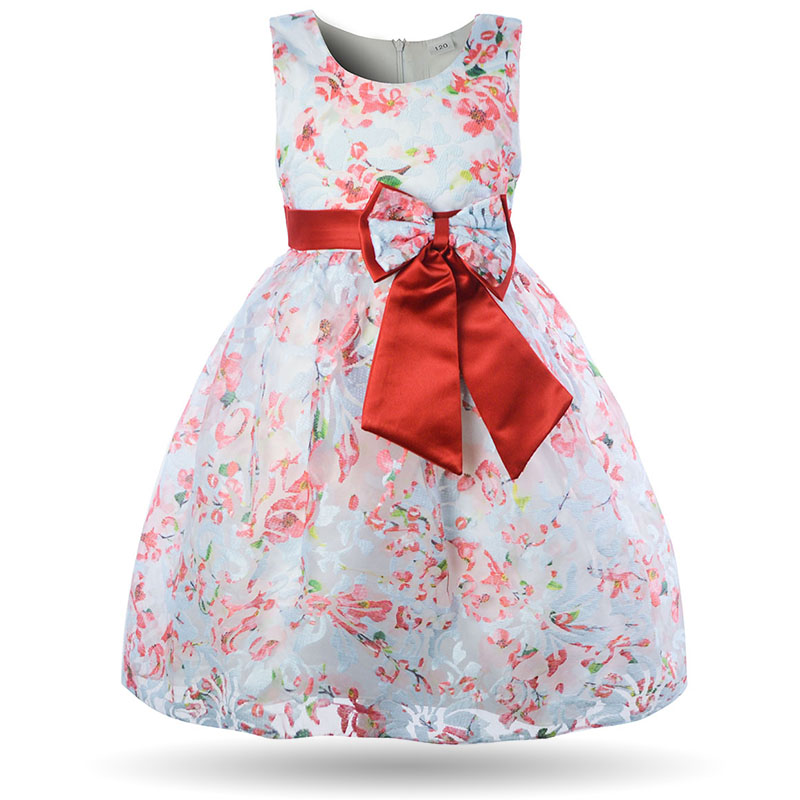 Girls Floral Dress Elegant Princess Kids Party Ball Gown Vintage Flower Blue Pink Baby Dresses 2018 Chic Fancy Bow Girl Frock