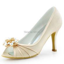 Frau Schuhe Champagner Größe 5 8 High Heel Abendpumpen Clips Hochzeit Schuhe Satin Brautjungfer Dame Brautschuhe EP2094AE