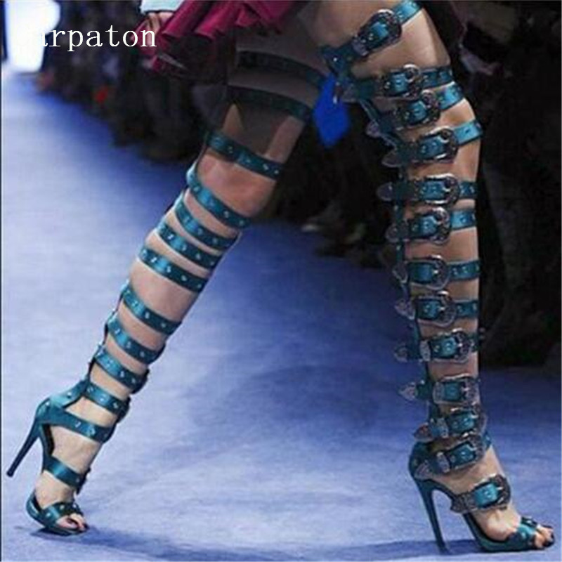 Summer  Women Over-the-Knee Belt Buckle Strap Sandal Boots Ladies Strange Style Thin High Heels Party Nightclub Platforms Boots 2015 summer new rome sweety shining buckle belt women sandal high heels weomen sandal breathable comfort women sandals e937