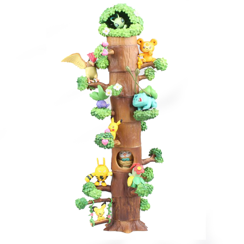 Anime Cute Pikachu Mokurah Celebi Bulbasaur 8pcs Figure in Forest Tree House Ver. Action Figure Collection Model Toys