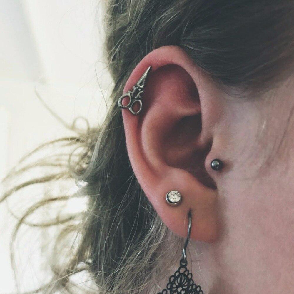 2ppcs/lot Unique Earrings Studs Scissors Screw Surgical Steel Ear Tragus Piercing Punk Body Jewelry from India 16G Men ES36  body jewelry