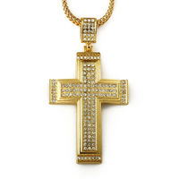 Hip Hop 18K Gold Crystal Iced Out Bling Cross Pendant Long Chain Hip Hop Jewelry For