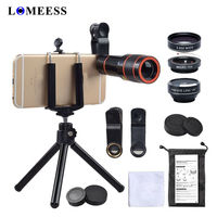 Phone Camera Lens Kit 4in1 HD 12X Zoom Telescope Lens Fisheye Wide AngleMacro Lens With Phone