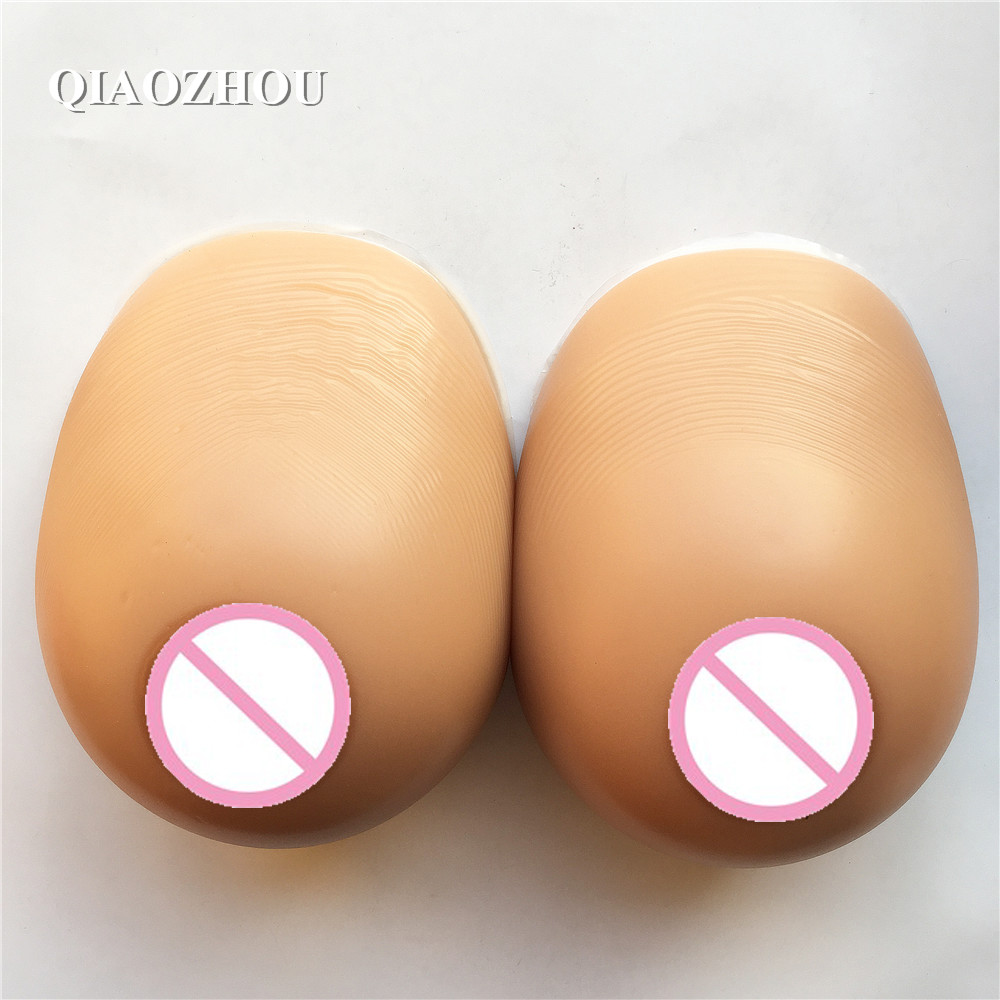 crossdresser big breasts 1400 g 90D E silicone tear drop realistic breast forms full soft tan skin brown color
