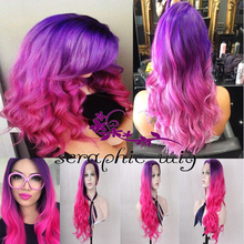 2 Tones Purple Ombre Pink Synthetic Lace Front Natural Long Wavy Wigs Heat Ok Half Half Hand Tied  Full Wig for Fashion Women