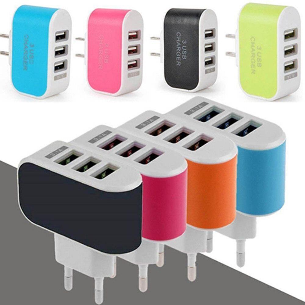3.1A Triplo 3 Porta USB Parede Início de Viagem AC Adaptador de Carregador para Samsung iPhone