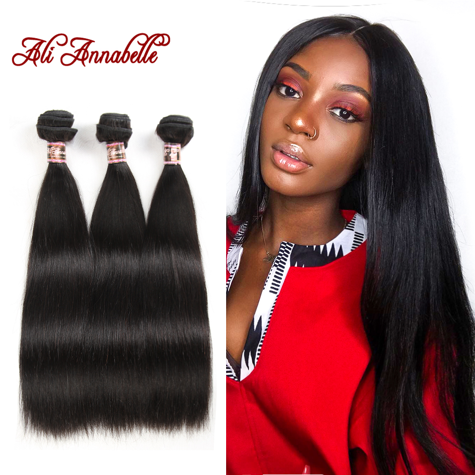 ALI ANNABELLE Straight Hair Bundles Indian Hair Weave Bundles 3 4 Pieces 100 Human Hair Extension