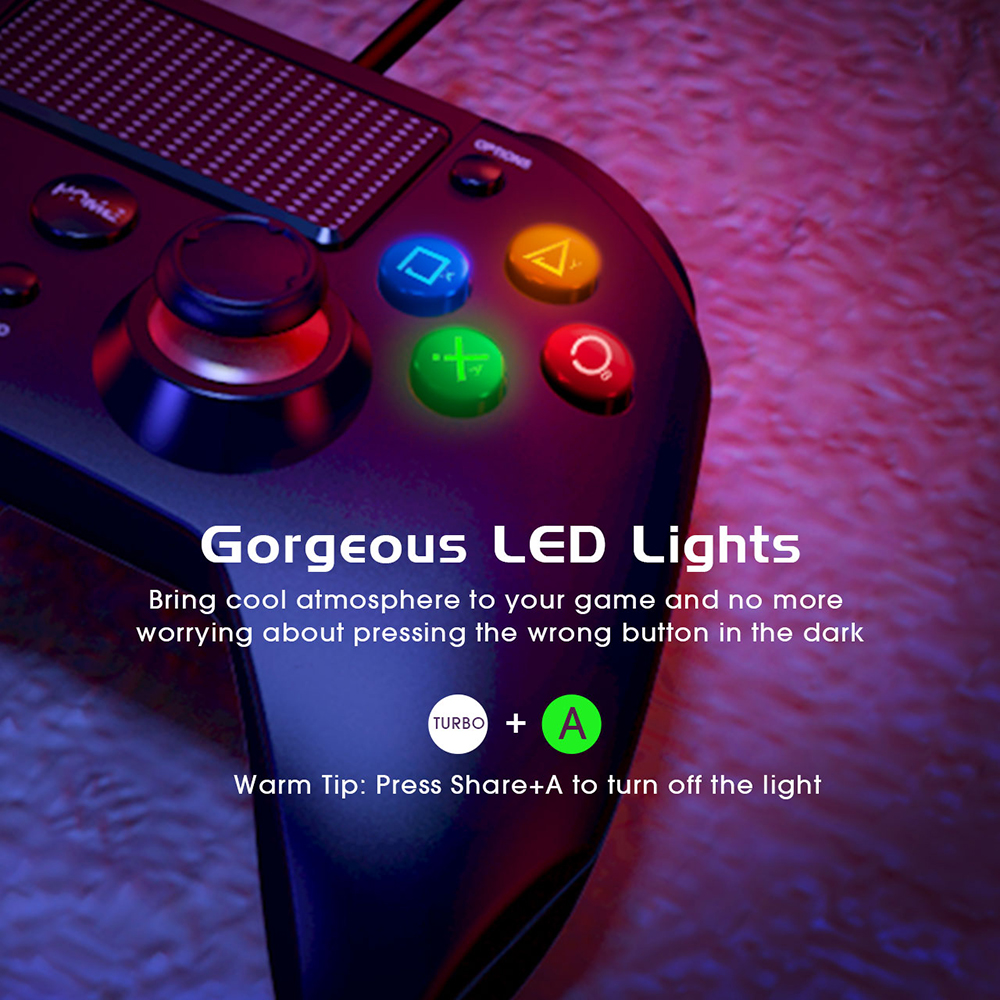 Mpow Wired Gamepads Game LED Light Gamepads Controller USB Gamepad With And Trigger Bottouns Gamepads For PS4PS3WinAndroid TV (5)