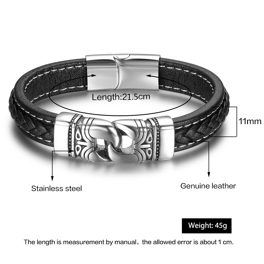 Black Leather Bracelet with Stainless Steel Clasp - 202mm LCWSQYL2J