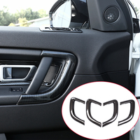 4pcs Carbon Fiber Style ABS Plastic Inner Door Handle Trim For Land Rover Discovery Sport 2015 2017 Car Accessories Stickers