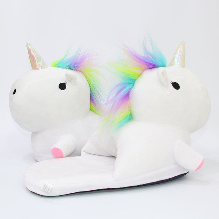 Plush Unicorn Slippers Adult Women 2017 Girls Unisex Home Indoor Chausson Licorne Shoes Bedroom Fluffty Warm Winter Soft Grown unicorn slippers cotton winter indoor warm solid flat furry animal fluffy fenty anime shoes fuzzy house licorne home slippers