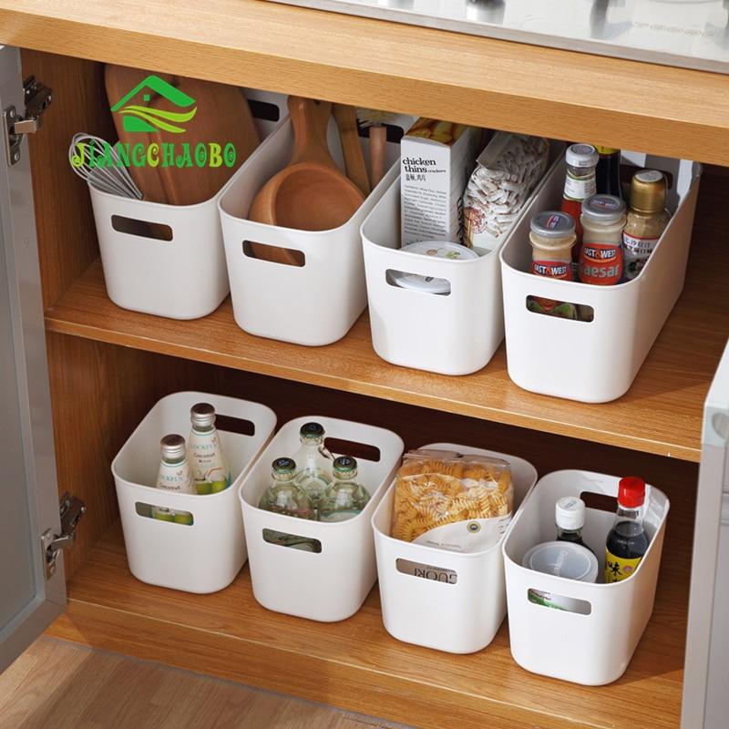 JiangChaoBo Plastic Storage Basket Kitchen Snack Storage Box Bathroom Desktop Storage Basket Cosmetic Basket