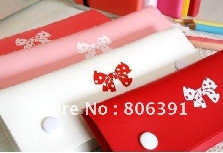 20pcs/lot, Lovely ribbon pencil bag/ bowknot Pencil Box, Pen Bag, Makeup Bag, school Pencil Case,pink