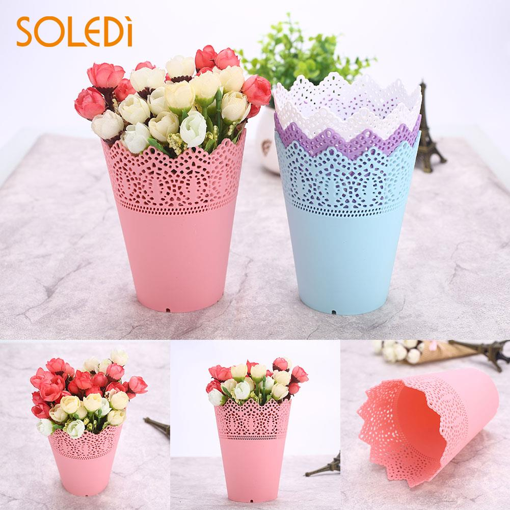 Plastic Economic Beautiful Flower Pots Desk Tidy Holder Pen