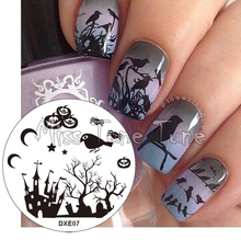 New Halloween Stamping Plate Black Crows Dark Forest Pumpkins Spider Design Nail Art Stamp Template Image Transfer Tool