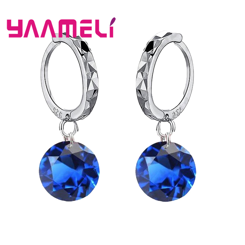 Big Discount Genuine 925 Sterling Silver 8 Colors Shiny Cubic Zirconia Dangle Earrings Crystal Jewelry For WOmen Ladies 3