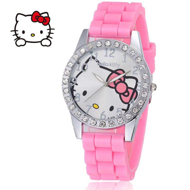 Relogio  Women Watches Cartoon Cat Ladies Boys Girls Wrist Watch Kids Children Silicone Rhinestones Watch Clock Saati