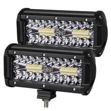 Bộ 2 Đèn LED Thanh 7 Inch LED Bar 3 Hàng Công Việc Nhẹ Combo Xà Đơn Cho Lái Xe Offroad Thuyền Xe Ô Tô máy Kéo Xe 4X4 SUV 12V 24V