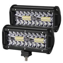 Farol de led para barra de luz, 2 peças, 7 polegadas, led, 3 linhas, luz de trabalho, combo, feixe para dirigir, offroad, barco, carro caminhão de trator 4x4 suv 12v 24v