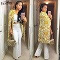 Новый Стиль 2017 Мода Женщины Открыть Стежка Плащ Пончо Плащи Outwears Пальто Vintage Желтый Печати Элегантный Тренч Длинное Пальто