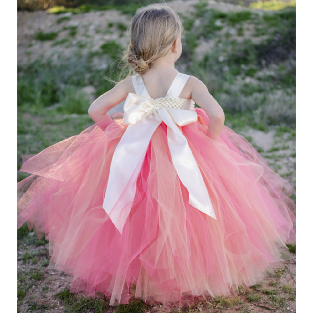 Princess tutu esponjoso shabby flower girl dress marfil peach girl ...