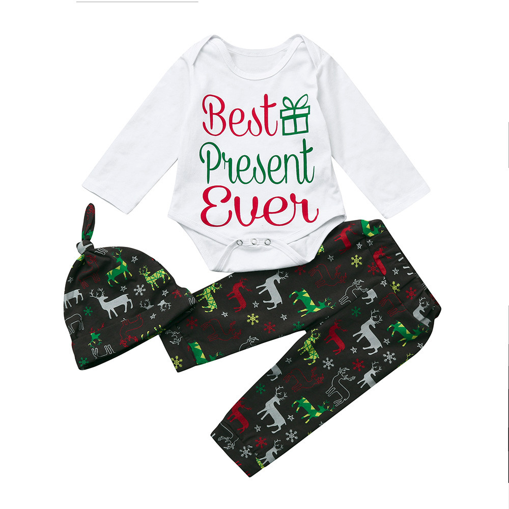 Christmas Costume Newborn Girls Boys Girl Christmas Letter Tops Deer Pants Outfits Clothes Set baby girl clothes bodysuit