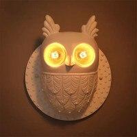 Nordic Creative Owl Bird Children Room Led Wall Lamps Aisle Light Stairs Lamp Mirror Light Villa Led Wall light Free Shipping