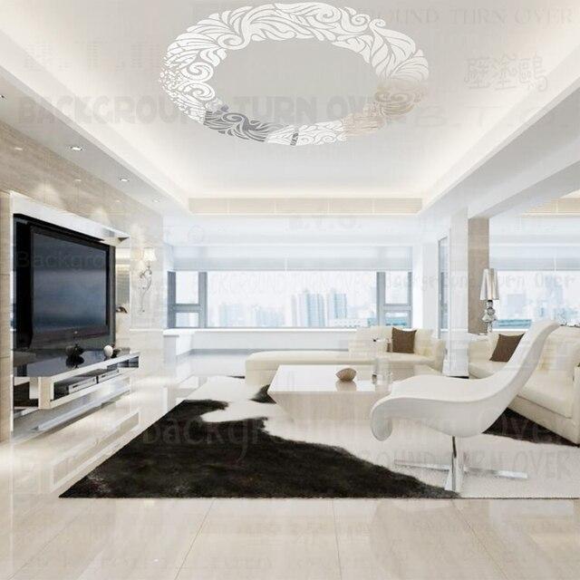 Diy creatieve cirkel ring plafond spiegel decoratie muursticker ...