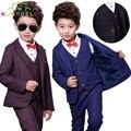 Los niños Traje Chaqueta + Chaleco + Pantalones 3 unids Muchachos Traje Formal Para Bodas Conjunto Ropa de Los Muchachos Blazers Trajes Para bodas Traje Formal B011