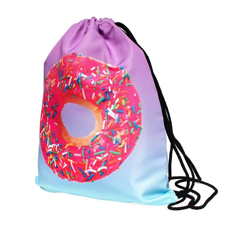 18PCS / LOT Doughnut Printing Drawstring Bags Women Travel Backpack Portable Polyester Softback Multifunctional Reusable Pouch
