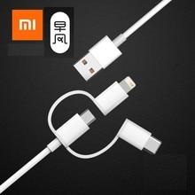 Xiaomi original 3 in 1 데이터 케이블 안드로이드 및 iphone 용 번개 마이크로 usb type c 공식 인증 용 100 cm mfi