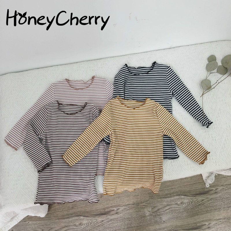 2018 Autumn T-shirt And Winter New Products With Round Ears Stripes Baby Girl Clothes T-shirt Long Sleeve Girls T-shirts футболка для девочки t shirt 2015 t t 2 6 girl t shirt