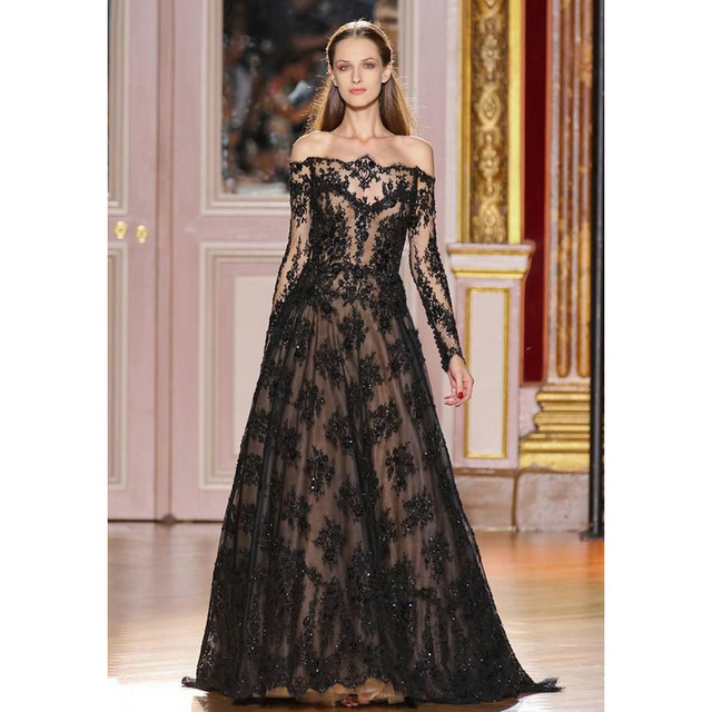 947efaca303 2017 New Arrival Black Lace Long Sleeve zuhair murad Evening Dresses  Elegant Party Dress Prom Gown Custom Made ED067