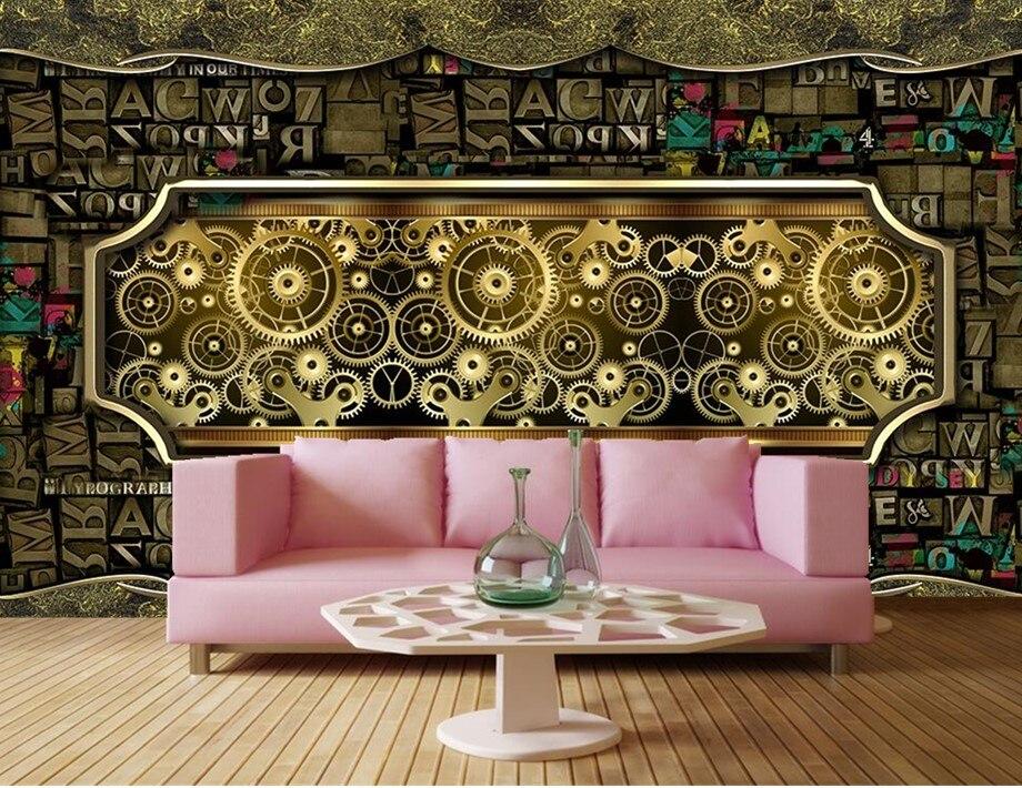 Ностальгия письмо комбинации из металла Шестерни ресторан-бар обоев Papel де Parede, гостиная диван ТВ стены спальни большие фрески