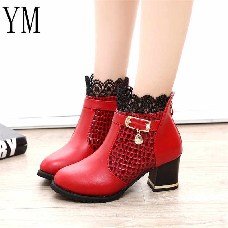Martin boot Women PU Pattern Ankle Boots shoes Sexy Lace Cuff Thick Heel Women Boots Fall Winter Fashion Red Women Shoes mujer