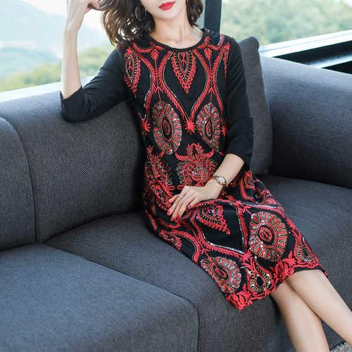 Китайское платье с вышивкой для женщин Весна офисные женские туфли vestido de festa