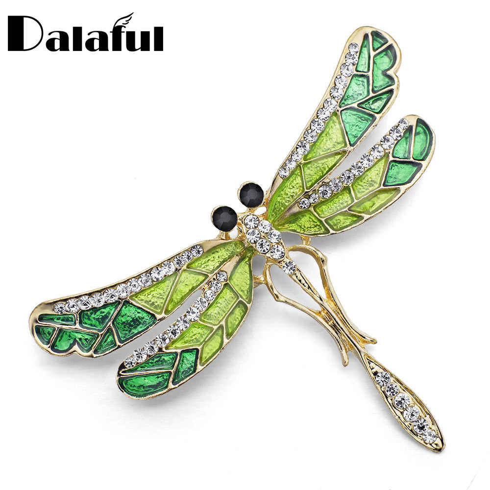 Unico Sveglio Dragonfly Pin del Brooch Dello Smalto Di Cristallo Monili Belli Per Le Donne Regalo Spille Z022