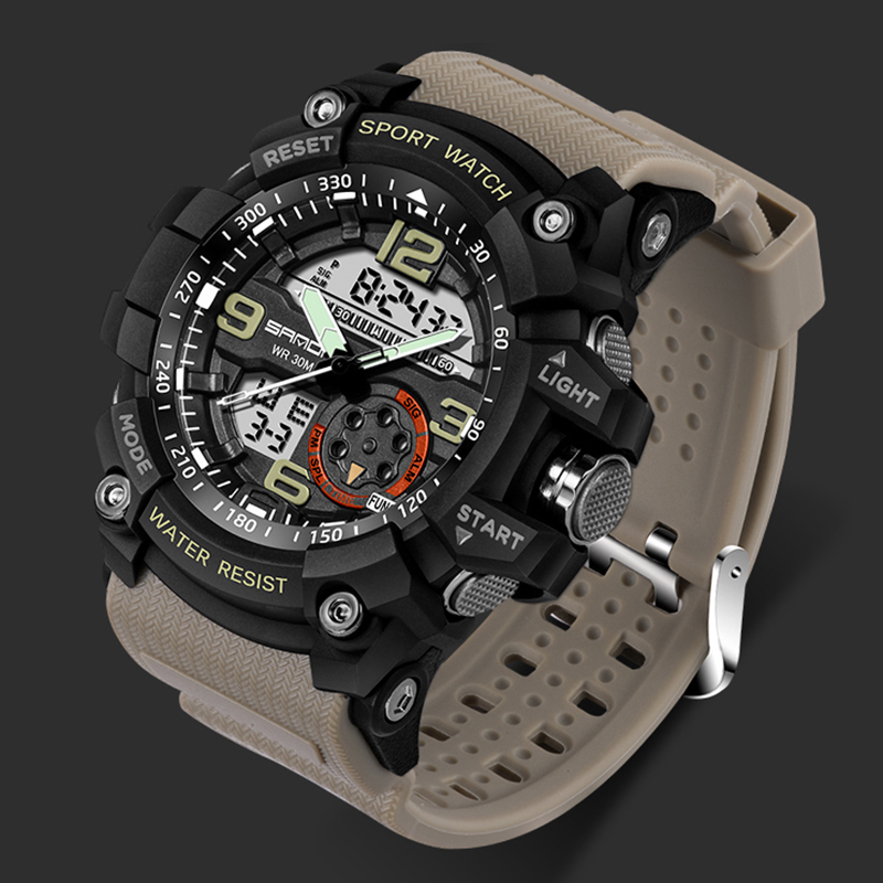 Dropshipping SANDA Military Watch Men Waterproof Dual Display Sport Watch Male Clock Relogio Masculino erkek Saat Montre Homme dropshipping boys girls students time clock electronic digital lcd wrist sport watch relogio masculino dropshipping 5down