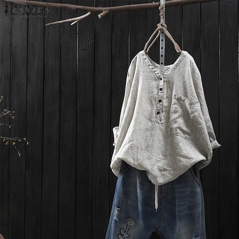 ZANZEA 2018 Autumn Cotton Linen Striped Shirt Women Vintage Casual V Neck Long Sleeve Shirts Big Pockets Blouse Female Blusas