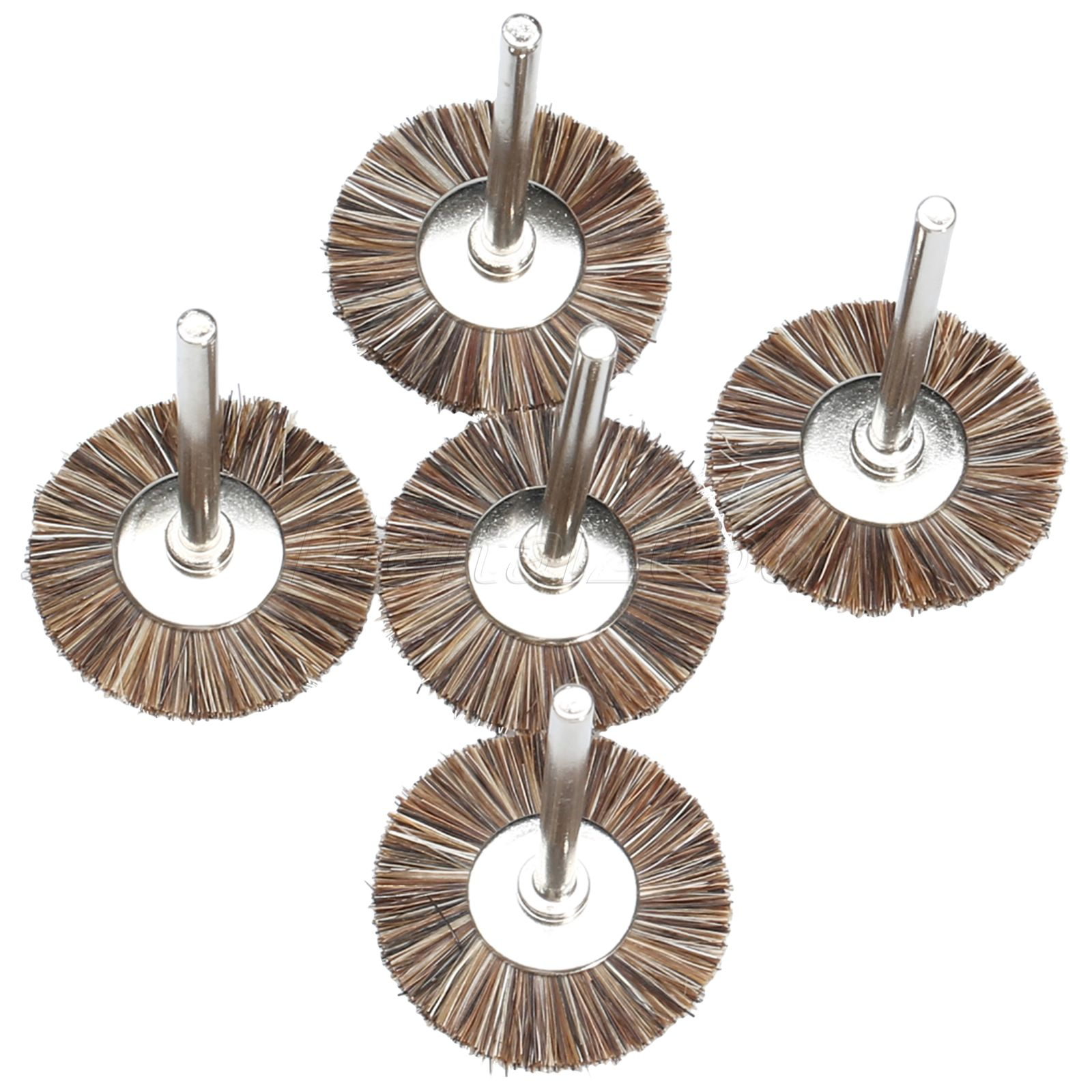 5 Pcs Silver Tone Shank Brown Fibre Grinding Polishing Buffing Bur Brush Wheel Dremel Rotary Tool Brushes