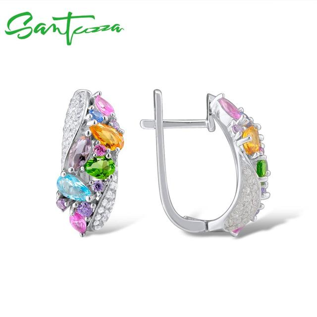 Silver Jewelry Sets For Women Mutil-Color Stones White CZ Earrings Ring Set 925 Sterling Silver Party Fashion Jewelry Set