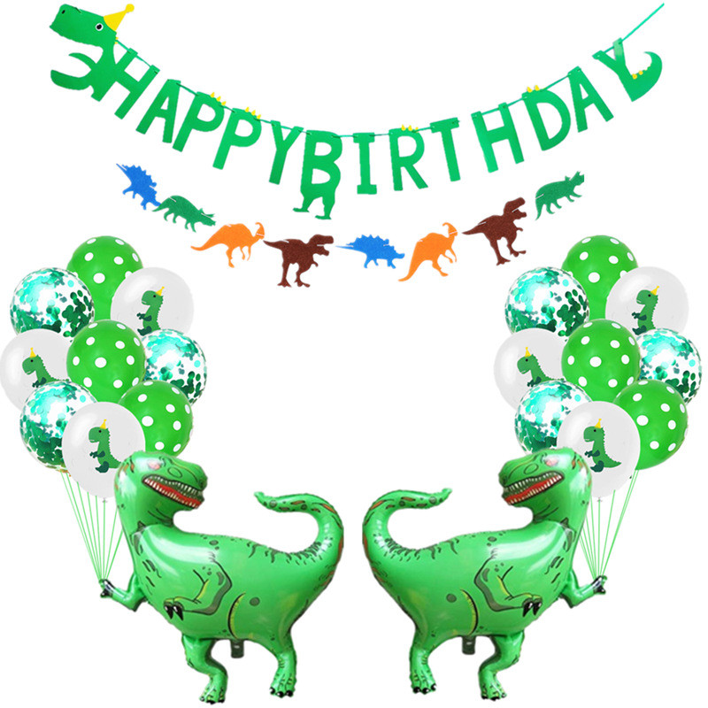Cartoon Hat Jungle Party Kids Boys Birthday Flag Set Dinosaur Themed Party Decoration Supplies Hat