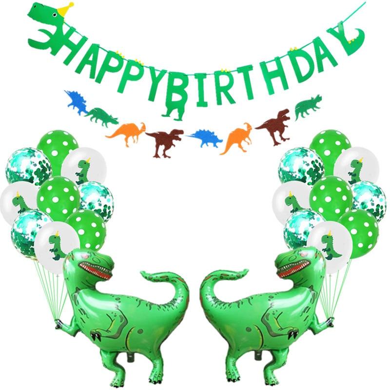 Cartoon Hat Jungle Party Kids Boys Birthday Flag Set Dinosaur Themed Party Decoration Supplies Hat